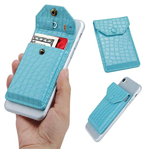 Self Adhesive Cell Phone Slim Leather Wallet, Stick On Card Holder fits Most Cell Phones & Cases, Credit Card Holder Pocket Wallet for Men Women - RFID Blocking Sleeve Covers (Tiffany Blue)