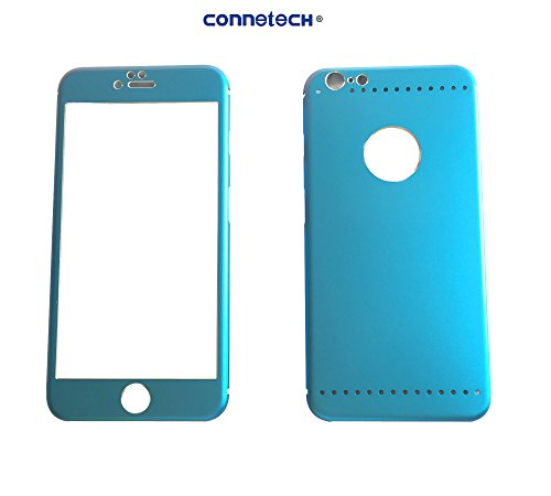 Connetech for Iphone 6 Color Front & Back Screen Protector Unibody Style[front Screen Arc Edge Titanium Alloy + Tempered Glass]+[back Screen Arc Edge Titanium Alloy] Full Front Hybrid Titanium Alloy Sticker Built-in Tempered Glass Body Sticker 9h Hardness Premium Tempered Glass Screen Protector for Iphone 6 4.7 Inches (Full Edge Titanium-blue)