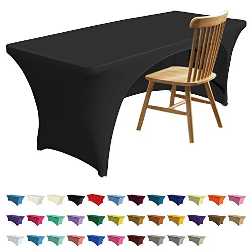 - ABCCANOPY 30+ Colors Spandex Table Cover 6 ft. Fitted Polyester Tablecloth Stretch Spandex Tablecover-Table Toppers(Open Back Black)