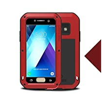"Samsung Galaxy A520/A5 Metal Case,Shockproof Waterproof Dust/Dirt/Snow Proof Aluminum Metal Gorilla Glass Protection Case forSamsung Galaxy A520/A5 2017(5.2"") (Red)"