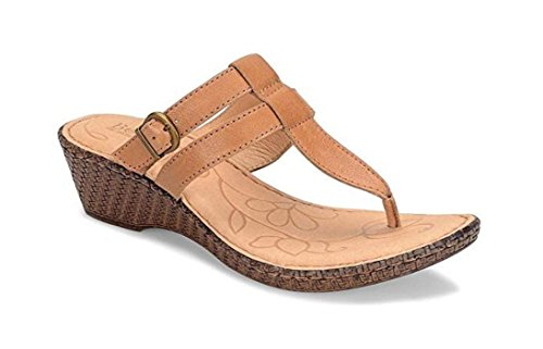 Born Women's Iris Leather Thong Wedge Sandal (Size: 6, Light Brown)