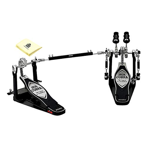 Tama TAMHP900RWN Iron Cobra Coil Rolling Glide Twin Bass Drum Pedal with Polishing Cloth