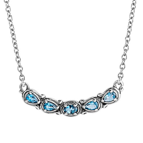 Carolyn Pollack Sterling Silver Blue Topaz Gemstone 5 Stone Necklace 16 to 18 Inch