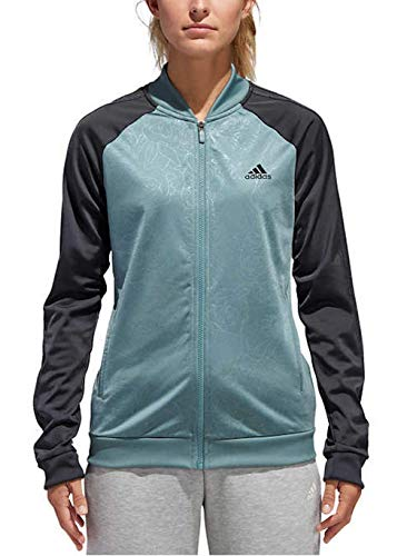 adidas Women's Embossed Print Track Jackets Full-Zip Climalite Jacket (Small, Raw Green/Carbon)