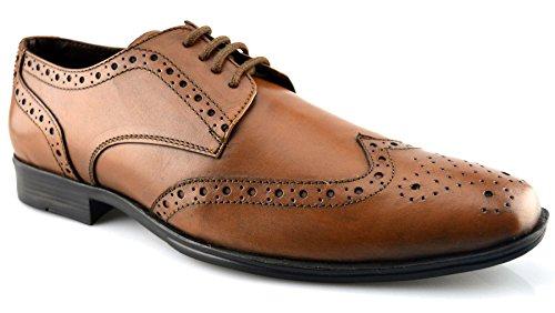 Route 21 Chaussures Habillées En Cuir Pour Hommes 7 Tan