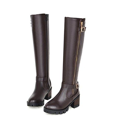 MS sencillez cinturón hebilla botas de largo marrón