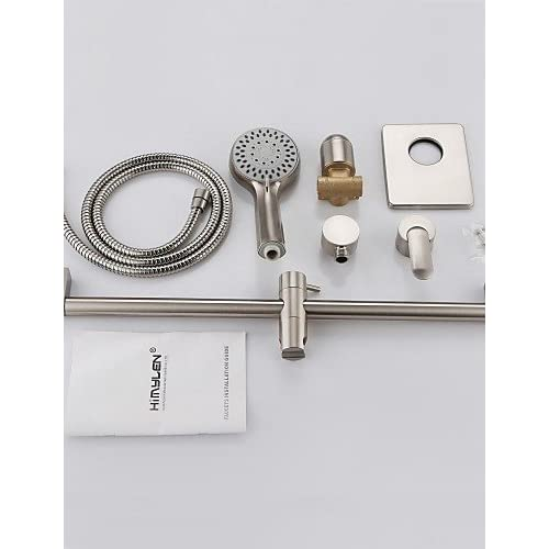 durable service SAEKJJ-Shower Faucet Contemporary Handshower Included Brass Nickel Brushed Bathroom faucet