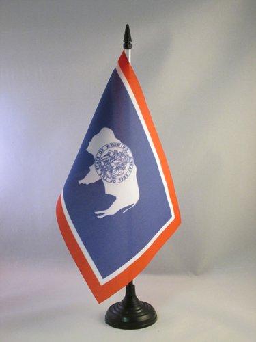(AZ FLAG Wyoming Table Flag 5'' x 8'' - US State of Wyoming Desk Flag 21 x 14 cm - Black Plastic Stick and Base)