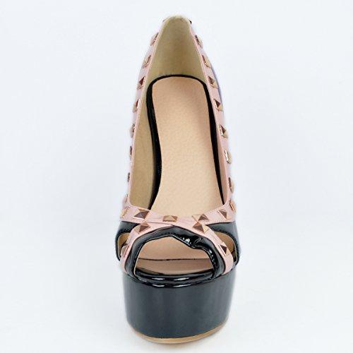 fino de mujer Zapatos con diseño puntera de para pimienta Negro de tacón pxqxwBUA