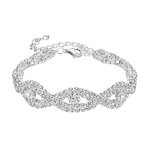 BriLove Wedding Bridal Bracelet for Women Crystal Infinity Tennis Bracelet Clear -