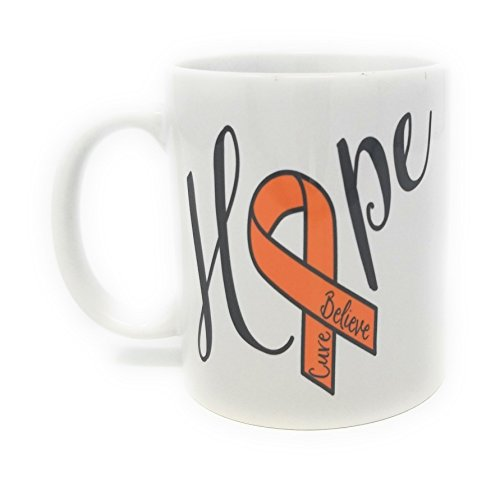 Hope Awareness Mug - Believe, Cure, Orange Ribbon, 12 oz Ceramic Coffee Mug
