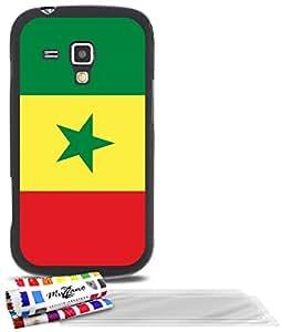 """Carcasa Flexible Ultra-Slim SAMSUNG GALAXY TREND de exclusivo motivo [Bandera Senegal] [Negra] de MUZZANO  + 3 Pelliculas de Pantalla """"UltraClear"""" + ESTILETE y PAÑO MUZZANO REGALADOS - La Protección Antigolpes ULTIMA, ELEGANTE Y DURADERA para su SAMSUNG GALAXY TREND"""