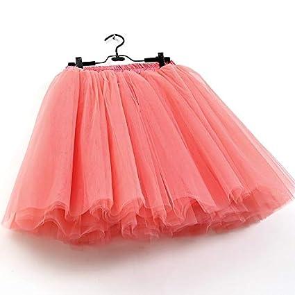 NVDKHXG Faldas para Mujer 7 Capas Midi Falda de Tul Moda Tutu ...