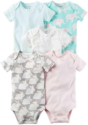 Carter's Baby Girls' 5 Pack Bodysuits