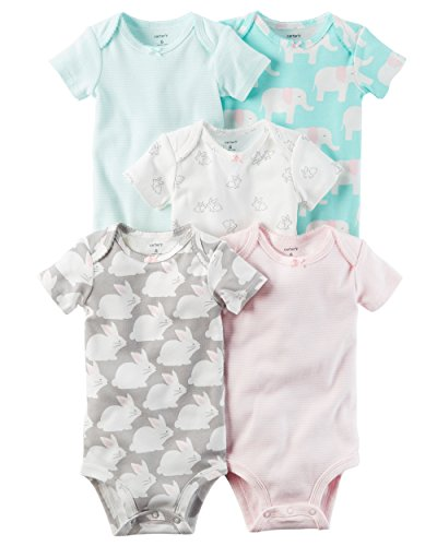 Carters Newborn Bunny Girls (Carter's Baby Girls 5 Pack Bodysuit Set, Bunny, 12 Months)
