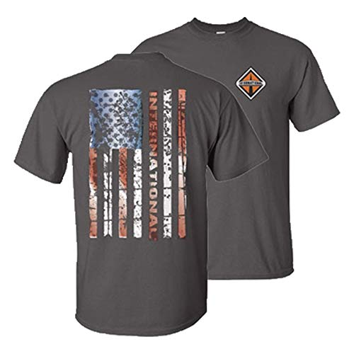 International t Shirt semi Truck Diesel Short Sleeve Gear Logo Grey Flag Tee XL