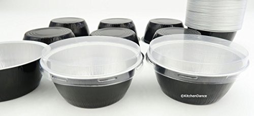 KitchenDance Disposable Aluminum Colored Baking Cups- Creme Brulee cups- Dessert Cups- 4 oz. Size with Lids (100, Black w/ Flat Lid)