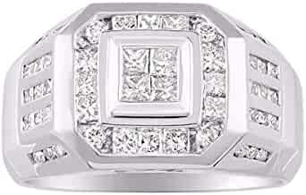 RYLOS Mens Diamond Ring 14K Yellow or 14K White Gold Comfort Fit 2.25 Carats Total Diamond Weight