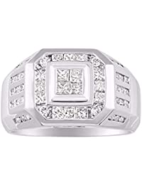 Mens Diamond Ring 14K Yellow or 14K White Gold Comfort Fit 2.25 Carats Total Diamond Weight