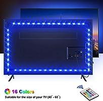TV Hintergrundbeleuchtung OMERIL 2.2M USB Led Band Strip Wasserdicht RGB LED Streifen Fernseher Beleuchtung mit 24-Key...