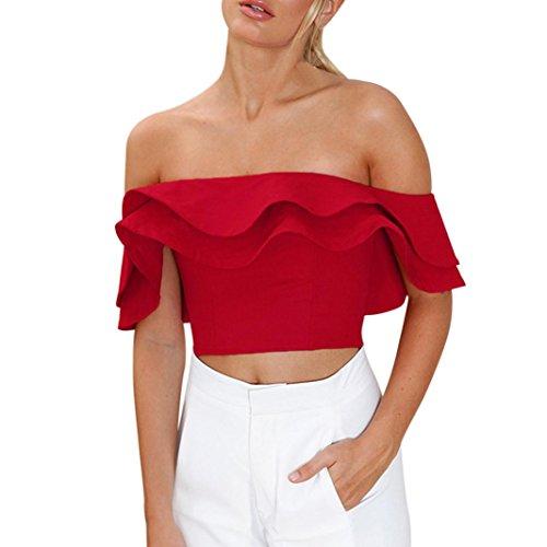 Misaky Off Shoulder Crop Top Women/Ladies/Girls Ruffle Shirt Blouse Tops (L, ()