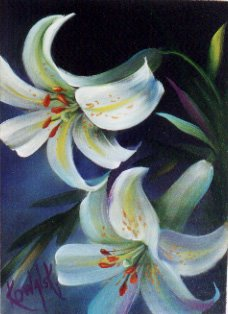 How-to Painting Packet White Lilies with Border