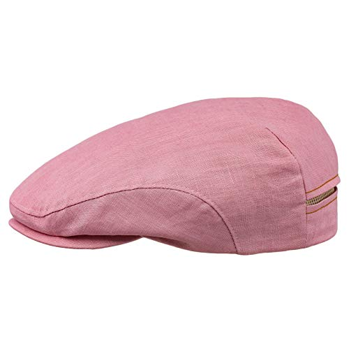 Sterkowski 100% Linen Summer Ivy League Flat Cap 7 Pink