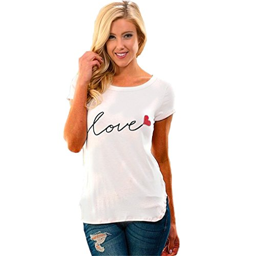 Meolin Women Love Printed T Shirt Short Sleeve Top (Blouse Love Label)