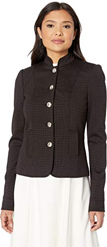 Tommy Hilfiger Women's Button Front Mandarin Collar Jacket Black Multi 6
