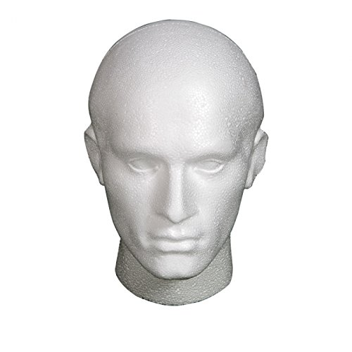 POLYSTYRENE MALE DISPLAY HEAD MANNEQUIN FOR WIG - WHITE Afrocosmetics4u®