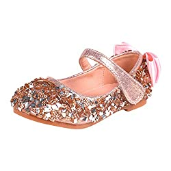 Girls Ballet Bowknot Flat Rhinestone Sequin Shoes