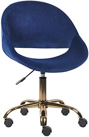 GIA Blue Velvet Vanity Chair Makeup Stool Chair Golden Swivel Base – Mid-Back Dressing Chair – Adjustable and Swivel Desk Chair for Beauty Room, Living Room or Home Office