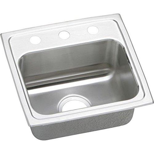 Lustertone 3 Hole - Elkay LRQ17163 Gourmet Lustertone 3-Hole 17-Inch x 16-Inch Single Basin Top-Mount Stainless Steel Kitchen Sink