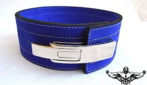 Quest Powerlifting Belt with Lever Buckle Blue – 10mm Weightlifting Crossfit Strongman