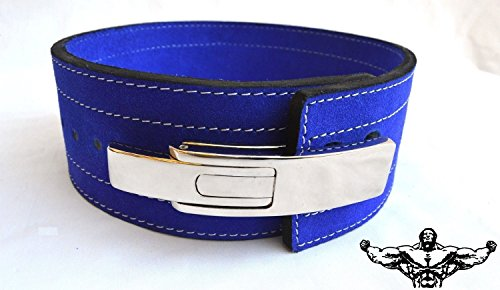 Cheap Quest Powerlifting Belt with Lever Buckle (Blue) – Weightlifting Crossfit Strongman (29 – 37 Inch Waist (Medium))