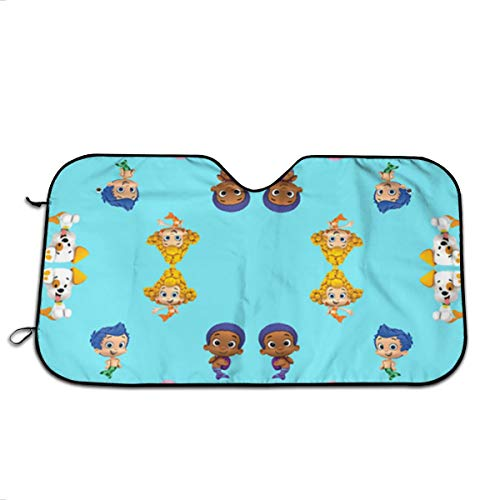Bubble Guppies Car Sun Shade For Windshield With Love At First Sight Design, Foldable Auto Window Sunshade,Blocks UV Rays To Keep Your Vehicle Cool And Damage Free,Easy To Install By Sun Visor (Bubble Guppies Car Seat Cover)