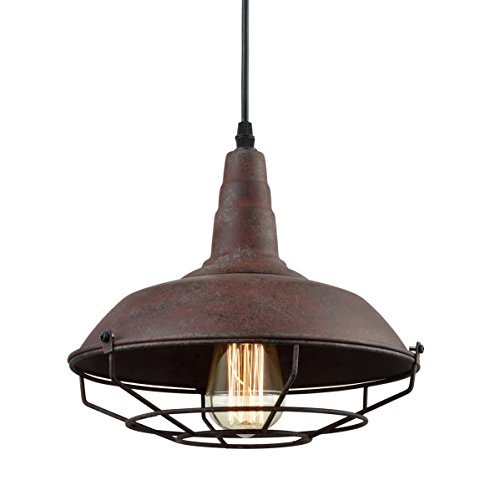 (Dazhuan Industrial Nautical Barn Metal Wire Caged Pendant Light Fixture Ceiling Pendant Lamp, Iron Cage Shade in Rust)