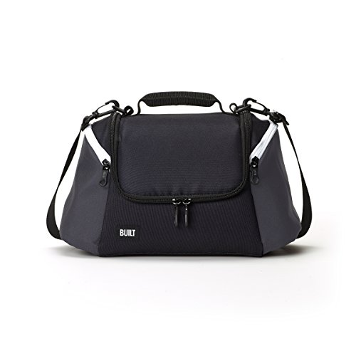 Built NY 5227344 All All Day Water-Resistant Insulated Fabric Lunch Bag with Zip Closure and Removable Shoulder Strap, 12-Inch, Black