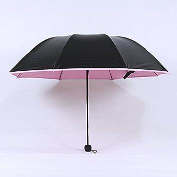 RF Paraguas plegable Paraguas negro pequeño filtro solar UV PARAGUAS paraguas día soleado con dos paraguas