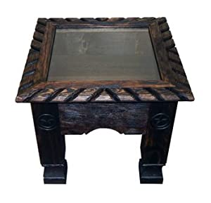 Exceptional Dark Shadow Box End Table With Rope U0026 Star Western Cabin Lodge Solid Wood