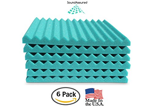 "Soundproofing Acoustic Studio Foam - Teal Color - Wedge Style Panels 12""x12""x1"" Tiles - 6 Pack by SoundAssured (Image #2)"