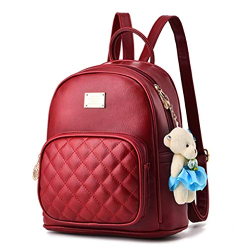 RON BILLY Cute Anmails Mini Purse Fashion Travel School Bag Backpack for Women and Girl Burgundy