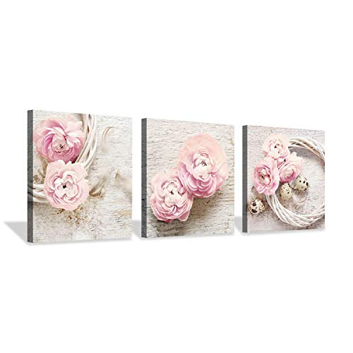 Floral Picture Canvas Wall Art: Innocence Pink Peony Flower Wreath Photographic Prints for - Bouquet Innocence