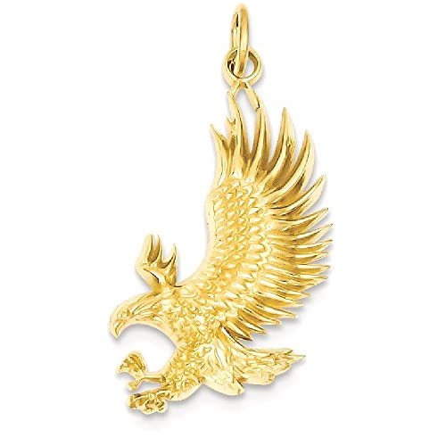 IceCarats 14k Yellow Gold American Bald Eagle Necklace Pendant Charm