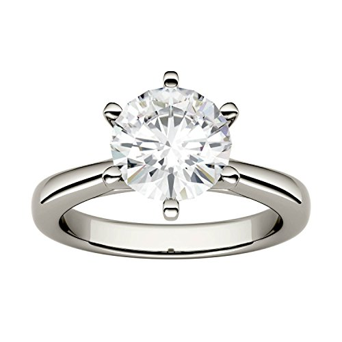 (Forever One Round 8.0mm Moissanite Engagement Ring-size 6, 1.90ct DEW (D-E-F) by Charles & Colvard)