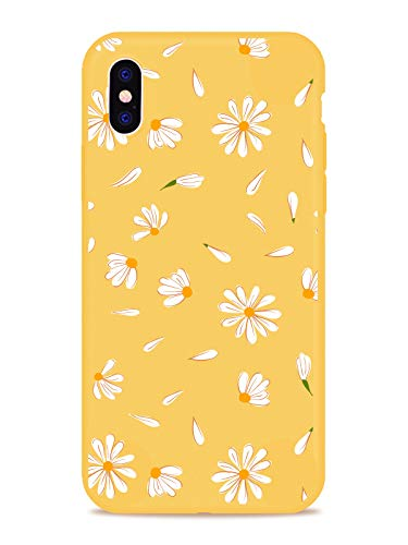 MAYCARI Cute Daisy Flower Case for iPhone 6 Plus/iPhone 6s Plus, Full Protective Soft Rubber Matte TPU Cover Slim Fit Phone Case for Women Girls - Yellow