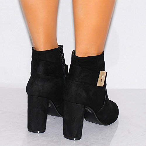 Womens Black Bottines Mode Boucle En Or Talons Chaussures Taille 3-8