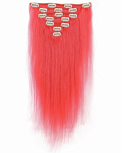 [Rosette Hair 18 Inch Full Head Human Hair Extensions 7pcs/set 16Clips in Brazilian Hair Extensions Pink Color Cosplay Halloween Hairpieces 75grams] (Mongolian Halloween Costume)