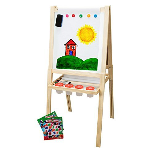 First Impressions Children's Solid Wood Art Easel (2nd Edition) Dry Erase Board and Magnetic Chalk Board Includes Numbers, Letters, Markers, Chalk & Eraser Accessory Pack