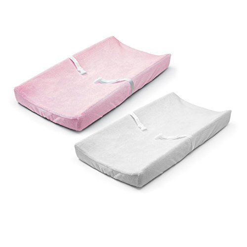Summer Ultra Plush Change Pad Cover, Pink/White, 2 Count by Summer Infant